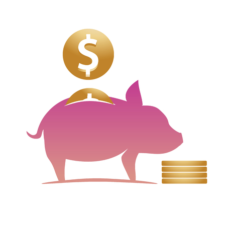 Moneybox pig illustration, Piggy bank with coins, illustration design, isolated on white background.