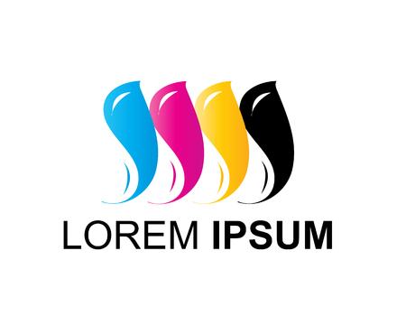 印刷会社のロゴ、cmyk 色ロゴ、イラストレーション、デザイン、白い背景で隔離。