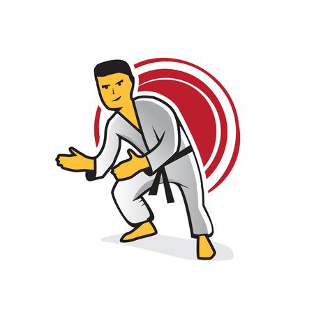 Energy karate man illustration, icon design, isolated on white . Illustration