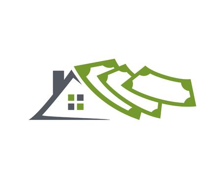 invest real estate logo, house with money logo, roof with money, illustration design, isolated on white background Ilustrace