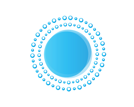 blue bubbles forms a circles, icon design, isolated on white background.
