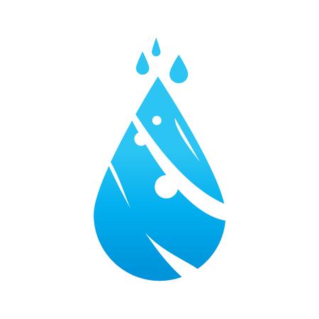 水アイコンのエレガントなドロップ、アイコンデザイン、白の背景に分離。