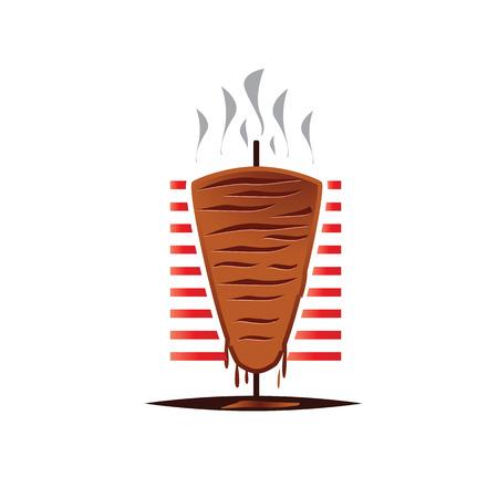 Logotipo de shaurma caliente, ilustración de shaurma, shaurma en llamas, diseño de icono, aislado sobre fondo blanco Foto de archivo - 86249404