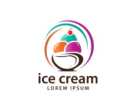 colorful ice cream logo, colorful Ice cream balls within bowl illustration, icon design, isolated on white background.