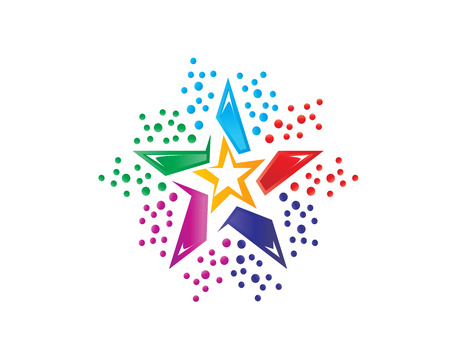 colorful star logo, star logo, icon design, isolated on white background.