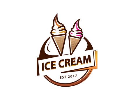 soft serve ice cream logo, circular ice cream logo, illustration design, isolated on white background.  イラスト・ベクター素材