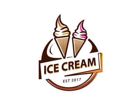 soft serve ice cream logo, circular ice cream logo, illustration design, isolated on white background. Ilustração