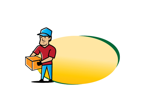 removal company logo, junk removal illustration, man holds box illustration with blank oval, removal company banner, character design, isolated on white background.  イラスト・ベクター素材