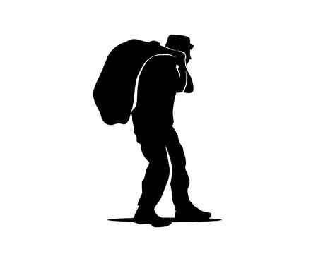 老人バッグ シルエット、貧乏人で格納バッグ、イラストレーション、デザイン、白い背景に分離します。  イラスト・ベクター素材