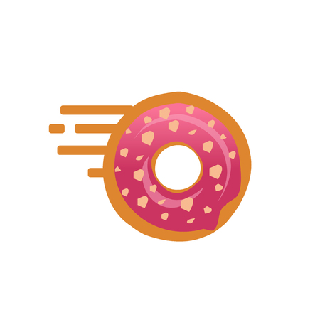 Doughnut with speed lines symbol, go doughnut, speed doughnut, doughnut with nuts,  isolated on white background. Illustration