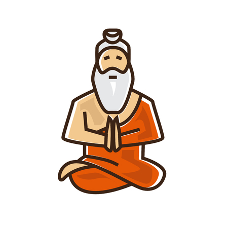 indian saint illustration, hindu sage, old man saint, illustration design, isolated on white background.  イラスト・ベクター素材