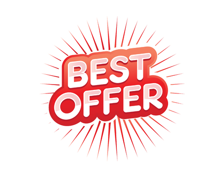 Best offer illustration, best offer with rays, bold offer sign, illustration design, isolated on white background.