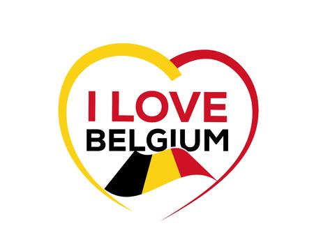 私は心とベルギーの旗の輪郭を持つベルギーが大好き、アイコンデザイン、白い背景に隔離。