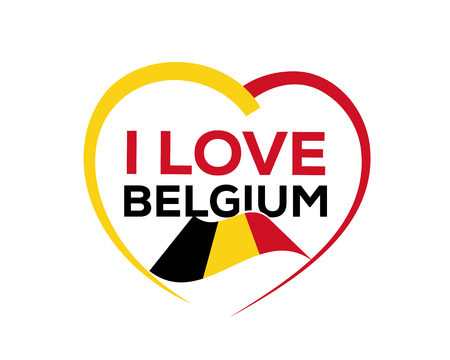 Ik hou van België met omtrek van hart en Belgische vlag, pictogram ontwerp, geïsoleerd op een witte achtergrond.