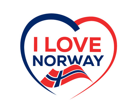 I love Norway with outline of heart and flag of Norway, icon design, isolated on white background.