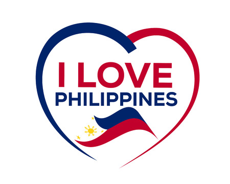 ハートのアウトラインとフィリピンの旗、アイコン デザイン、白い背景で隔離のフィリピンが好き。