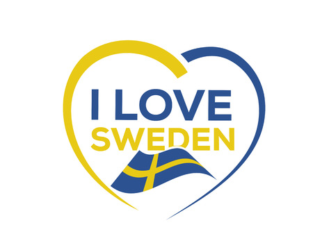 I love Sweden with outline of heart and Swedish flag, icon design, isolated on white background. Illustration