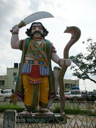 nandi:     This is the Statue of Myshasoor , Situated in Nandi Hills, Mysore India