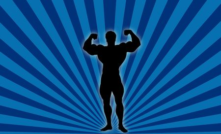 Silhouette Illustration of Body Builder Male ! Stock Photo