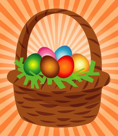 Easter Eggs and Basket ! Stock Photo
