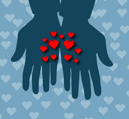 Illustration of Hearts in Hands !