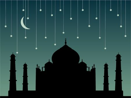 mumtaz: Illustration of wonder Taj Mahal with moon and falling stars in the sky ! Stock Photo