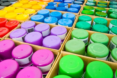 redesign: Boxes with spray paint in various colors Time to Redesign