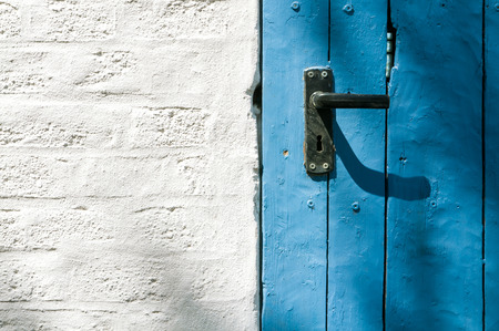 cried: White painted brick wall with old blue wooden door