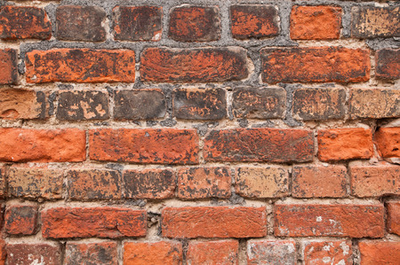 clinker: Brick wall with old red clay tiles for grunge background
