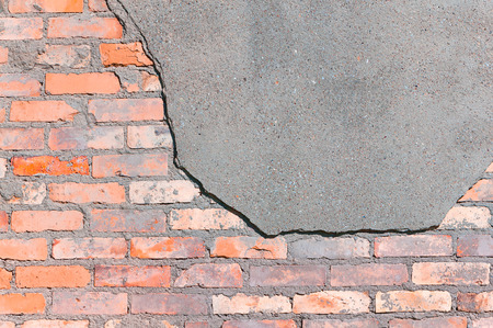 renovate old building facade: Old brick wall texture, Partially with cement surface