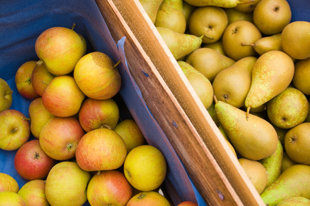 subsist: Apples and pears in wooden crates
