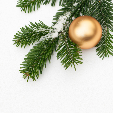 fir branch: Fir branch with powdery snow and golden Christmas bauble Stock Photo