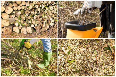 shredder machine: Gardening in autumn and spring: pruning, sawing, shredding, mulching Stock Photo