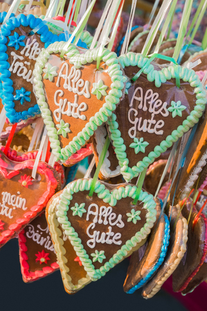 colord: Gingerbread hearts, sweet souvenirs from funfair, eatable heart-shaped Short Message