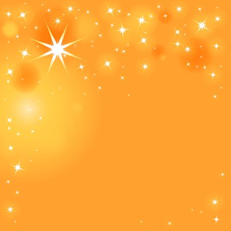 Fonkelende sterren in verschillende maten op oranje-gele achtergrond Vector Illustratie
