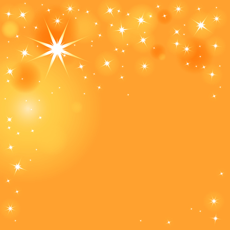Sparkling stars in different sizes on orange-yellow background