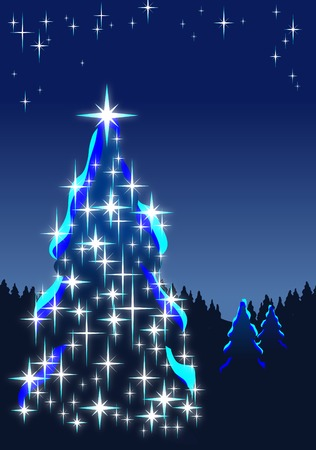 din: Illuminated Christmas tree in dark forest at night; Vector illustration of Christmas motif