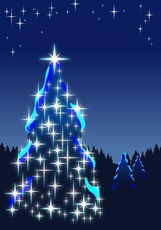Illuminated Christmas tree in dark forest at night; Vector illustration of Christmas motif