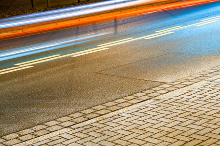 bidirectional: On the way to night shift; Light streaks made by traffic at night