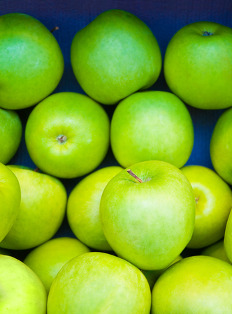 subsist: Green apples assorted in blue cardboard box; Fruit Trading; Have a Fruit Day