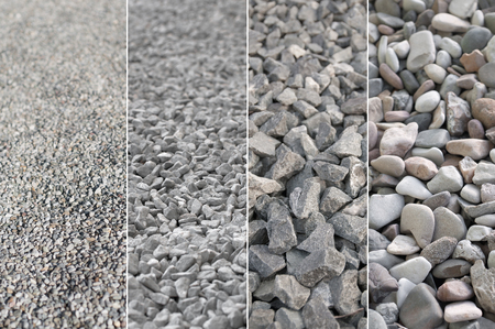 floor covering: Variety of pebble stones; Four different views of gravel; Building material Stock Photo
