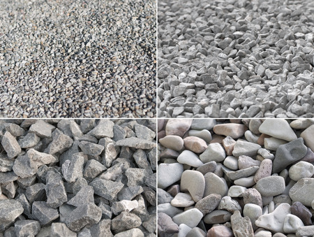 Four pictures of gravel in different shapes and sizes; Building material for construction industry or landscape gardening