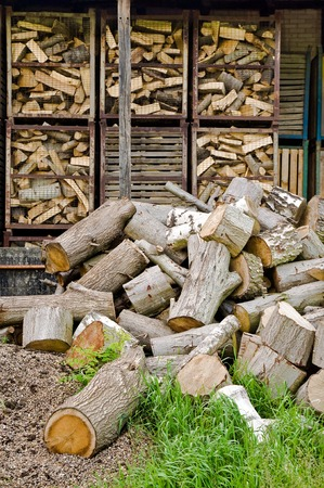 woodburner: Firewood - stored in mesh boxes; Storage of sawed logs; Timber usage; Forestry