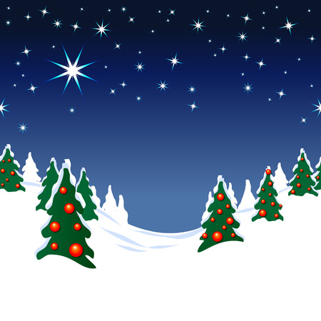 Seamless illustration of snow covered forest with Christmas trees under starry sky; Christmas Eve in winter forest; Christmas theme