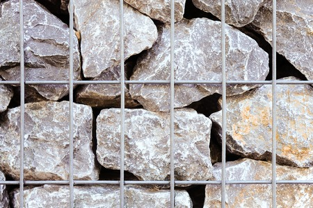 screen partition: Cage filled with rough rocks; Gabion basket with coarse filling material
