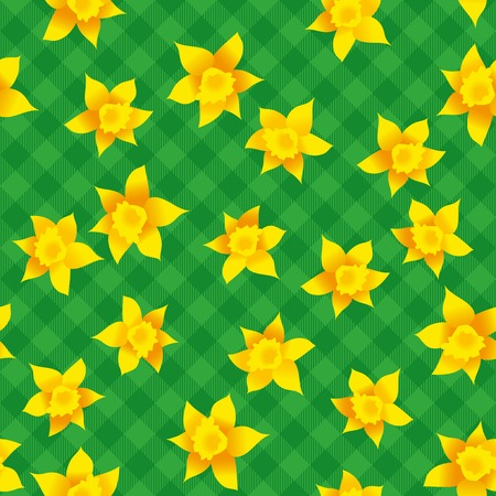 checked background: Seamless, illustrated pattern of daffodils on green checked background; Endless motif for Easter items Illustration