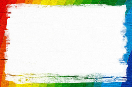 Painted wooden wall with rainbow colors and white space for background; Blank information board; Stock Photo