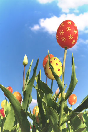 Special Easter tulips against sunny sky; Special flower breeding for Easter season; Tulips with unusual blossoms; Funny Easter greeting card Stock Photo