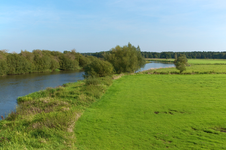 fertile land: Riverside with green meadows and trees at blue sky; River Aller in Lower Saxony - North Germany; Riverbed with trees and pastures