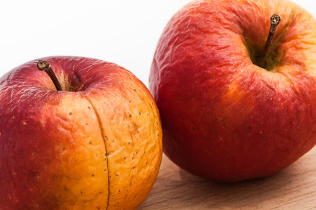 expiration date: Two wrinkled apples in close up on wooden board against white background; aging process Stock Photo